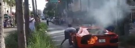 Lamborghini Aventador In Flames
