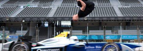Backflip Over Racing Car